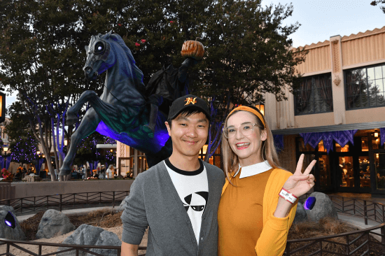 Guests at Oogie boogie bash at disney California adventure