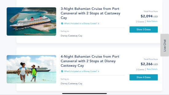 Disney cruise line departures from port canaveral with two stops at castaway cay