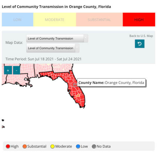 Covid-19 transmission rate in Orange County Florida