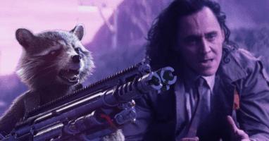 Bradley Cooper Rocket Racoon (left) in Avengers: Endgame and Tom Hiddleston as Loki (Right)