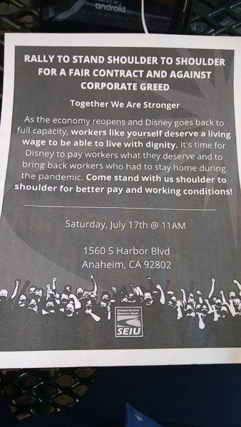 Disneyland Protest Flyer