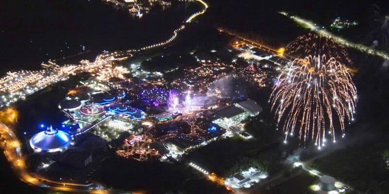 aerial photo of fireworks disney world