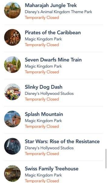 WDW closures