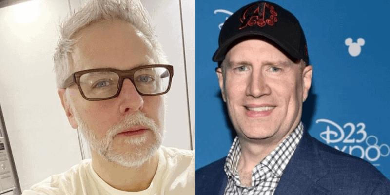 left, James Gunn, right, Kevin Feige