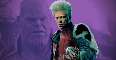 left, Thanos, right The Collector