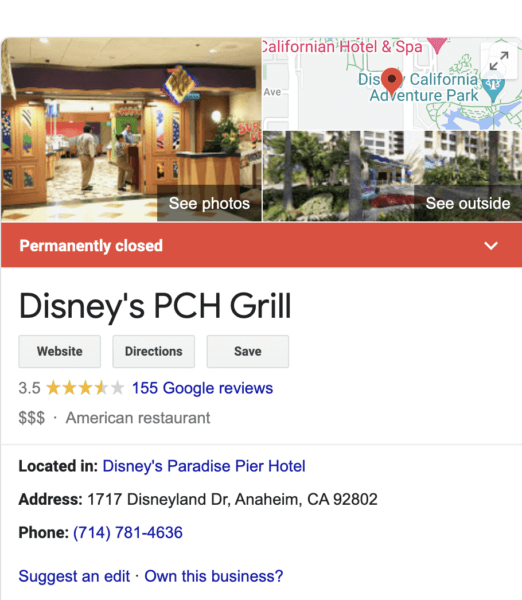 PCH Grill Closed