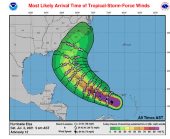 hurricane elsa prediction map