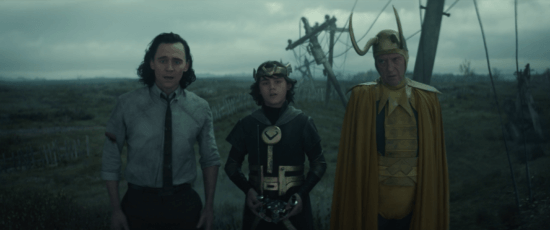 (Left) Tom Hiddleston as Loki, (Center) Jack Veal as Kid Loki (Right) Richard E. Grant as Classic Loki