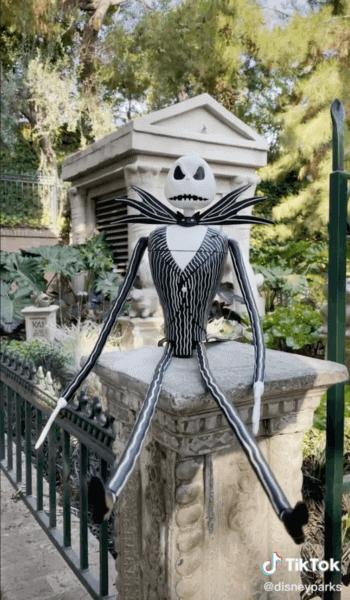 tall jack skellington sipper sitting at haunted mansion disneyland resort