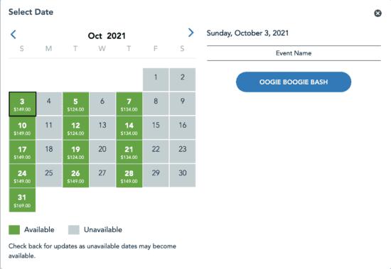 Oogie Boogie bash Ticket Availability 7/16