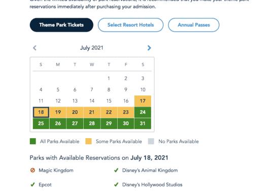 disney world theme park tickets park pass july 2021
