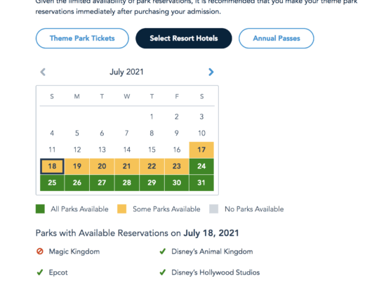 disney world resort hotel guests park pass july 2021