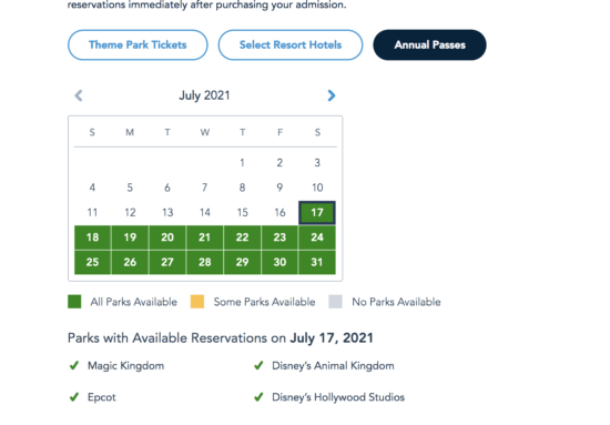 disney world park pass AP july 2021