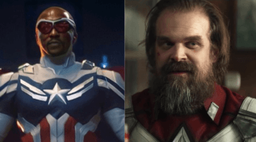 anthony mackie as captain america (left) and david harbour as the red guardian (right)