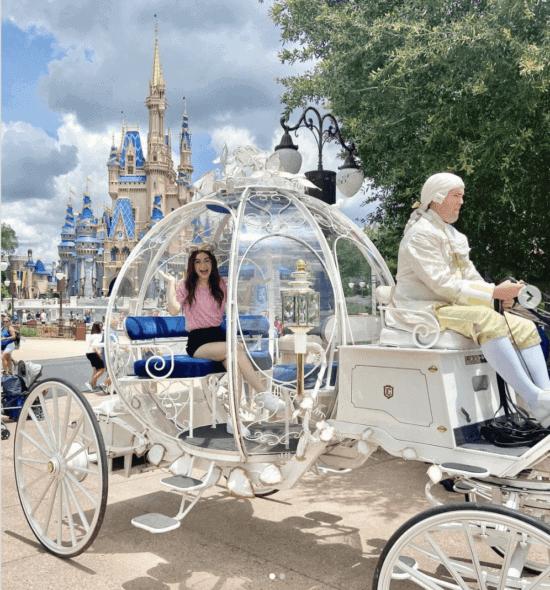 descendants star dizzy in magic kingdom on cinderella carriage