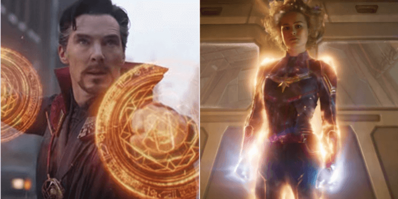 benedict cumberbatch as doctor strange (left) and brie larson as captain marvel (right)
