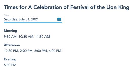 celebration festival of lion king showtime