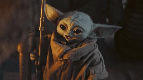 grogu grinning in the mandalorian