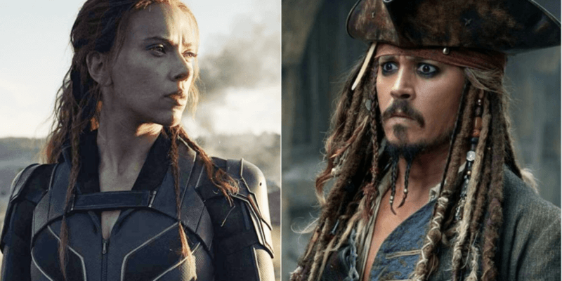 scarlett johnasson as black widow (left) and johnny depp as jack sparrow (right)