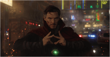 Benedict Cumberbatch as Doctor Strange wielding the time stone