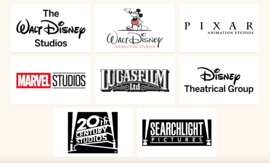 Walt Disney Company studios logos