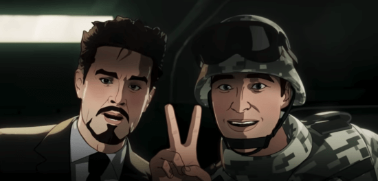 Tony Stark and soldier doing the peace sign