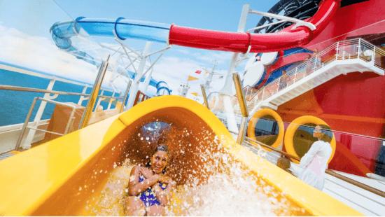 Disney Cruise Line Guest riding slide