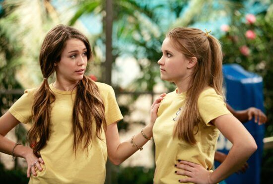 emily osment as lilly and miley cyrus as miley in hannah montana