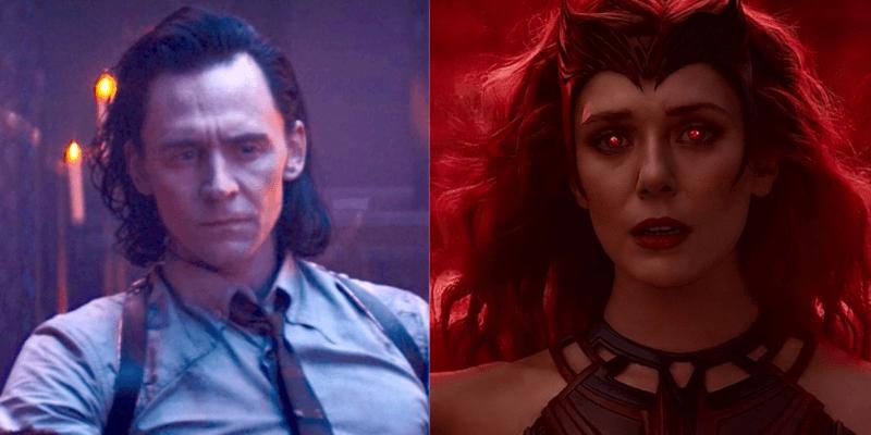 Tom Hiddleston as Loki (left) Elizabeth Olsen as Wanda Maximoff aka Scarlet Witch in WandaVision