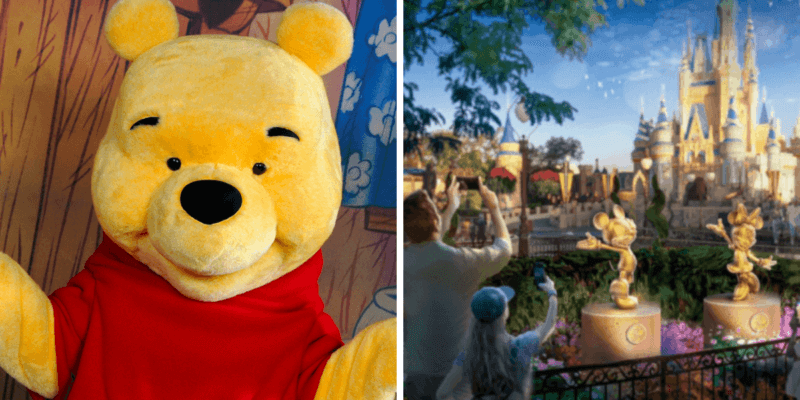 winnie the pooh (left) disney statues (right)