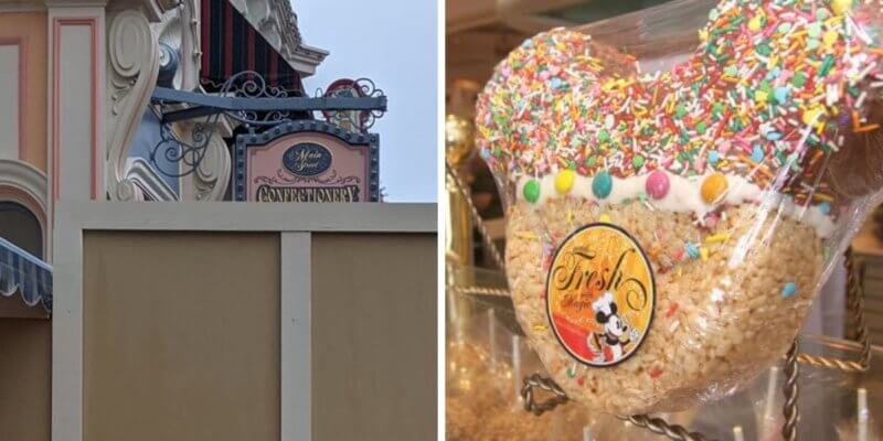 main street confectionary sign (left) rice krispie treat (right)