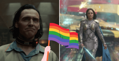 Loki and Valkyrie with Pride Flag