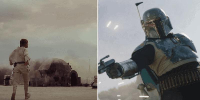 Left - Luke Skywalker on Tatooine at Owen and Beru's destroyed home / Right - Boba Fett firing a blaster