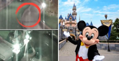 left - security camera footage from disneyland right - mickey mouse
