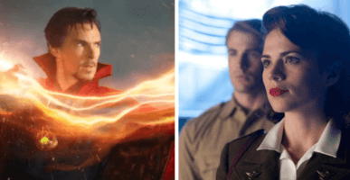 Doctor Strange with magic (left) and Peggy Carter and Steve Rogers (right)