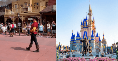 Gaston at WDW and Cinderella Castle