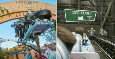 Rock 'n' Rollercoaster Entrance (left) Guests getting evacuated from the rollercoaster (right)