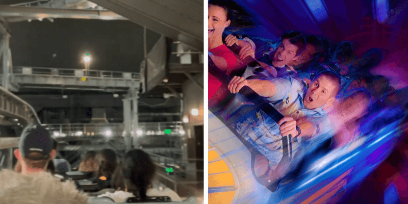 Space Mountain with lights on and Guests riding Space Mountain