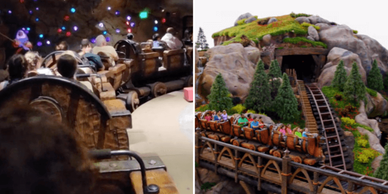Guests stuck on Mine Train and Mine Train in action