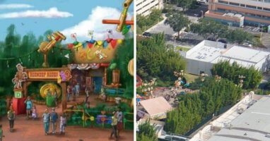 woodys roundup bbq concept art (left) construction (right)