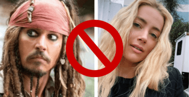 Johnny Depp as Jack Sparrow (left) and Amber Heard (right)