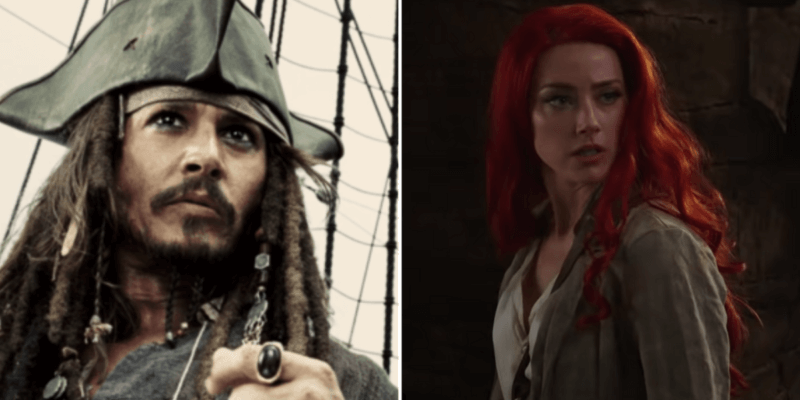 Johnny Depp as Jack Sparrow (L) Amber Heard as Mera (R)