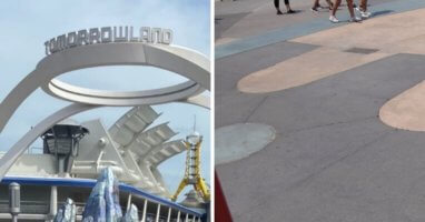 tomorrowland sign (left) tomorrowland pavement (right0