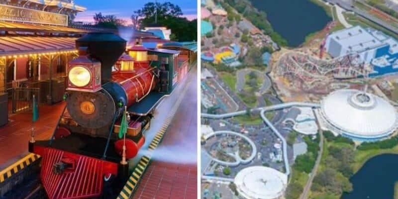 disney world railroad (left) aerial photo magic kingdom (right)