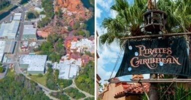 aerial photo magic kingdom (left) pirates of the caribbean (right)