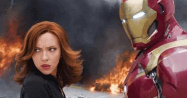 "Black Widow (Scarlett Johansson) left and Iron Man (Robert Downey Jr.) right in ""Captain America: Civil War"" (2016)"