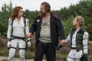 Left to Right Black Widow, Natasha Romanoff (Scarlett Johansson), Alexei (David Harbour) and Yelena (Florence Pugh)