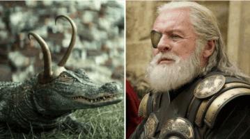 alligator loki (left) and anthony hopkins as odin (right)