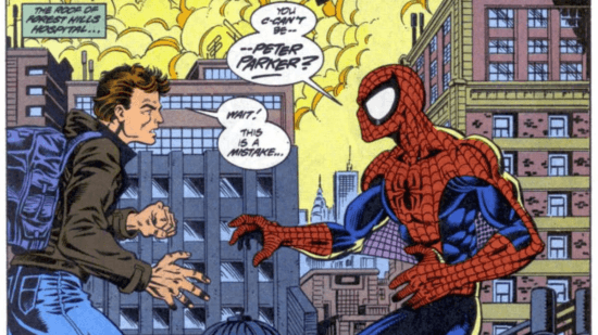 ben reilly and peter parker as spider-man in clone saga marvel comic