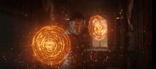 benedict cumberbatch as doctor strange wield eldritch magic circles